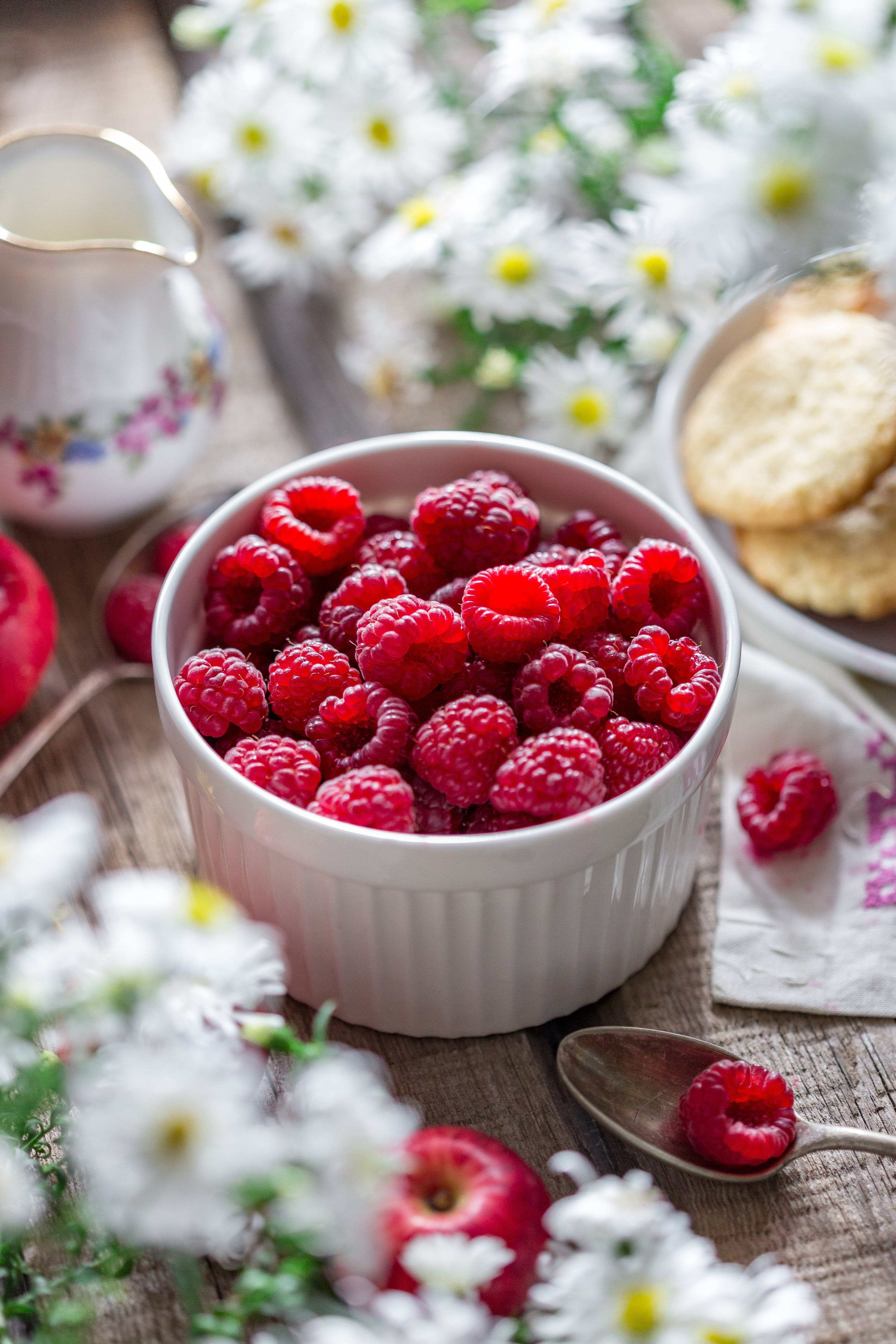 Close-up of Raspberries in Bowl on Table