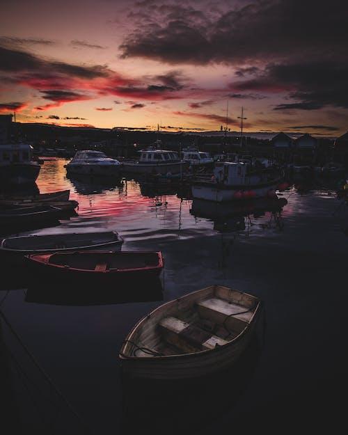 ゴールデンアワー, シーサイド, ボート, 日没の無料の写真素材