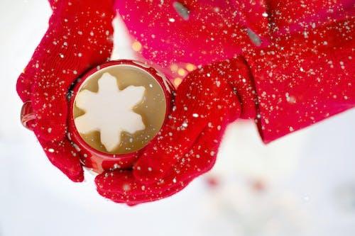 Foto stok gratis merah, minuman, pakaian hangat, salju