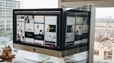 apple, desk, working