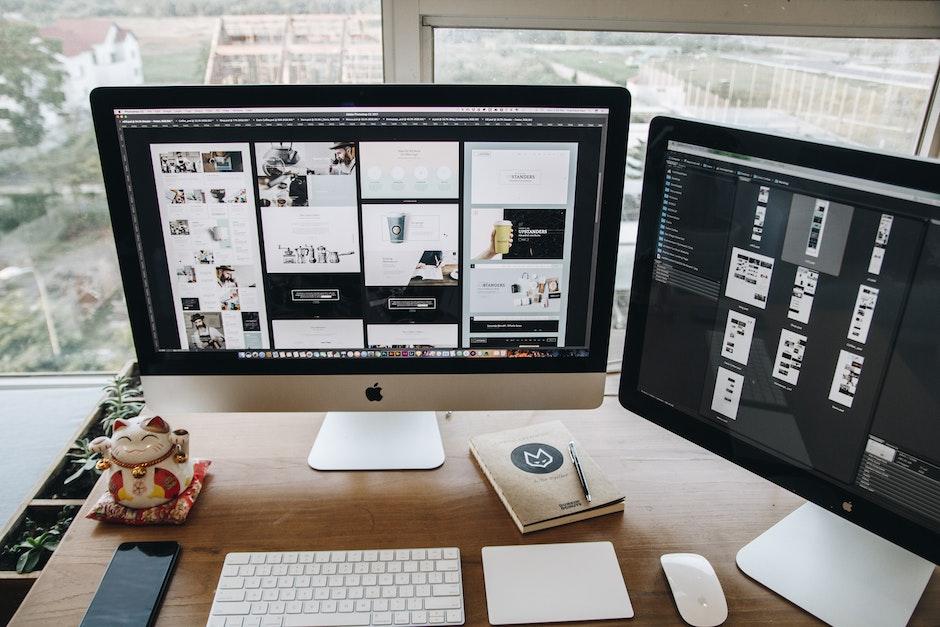 apple, computer, desk