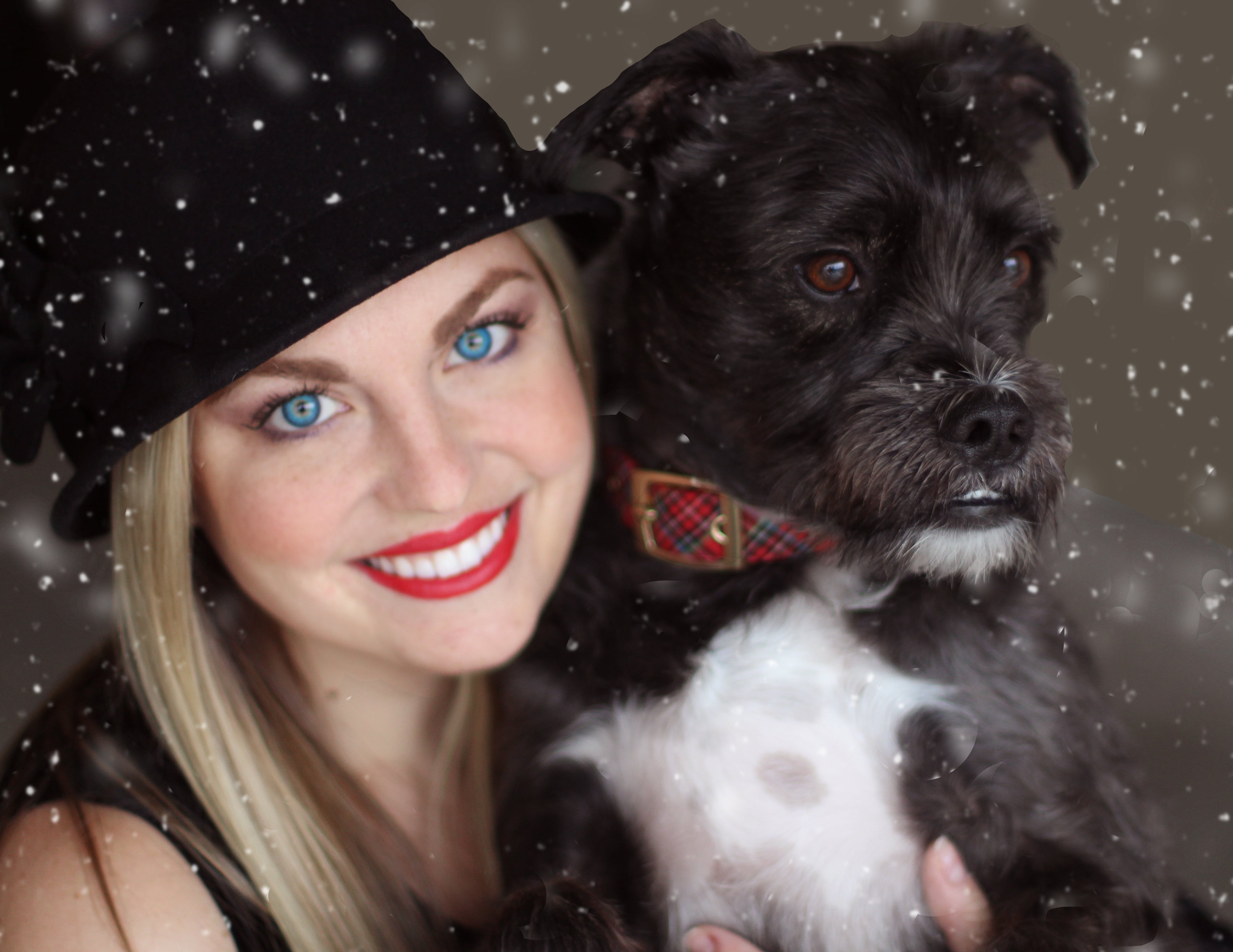 Portrait of Smiling Woman With Dog in Winter
