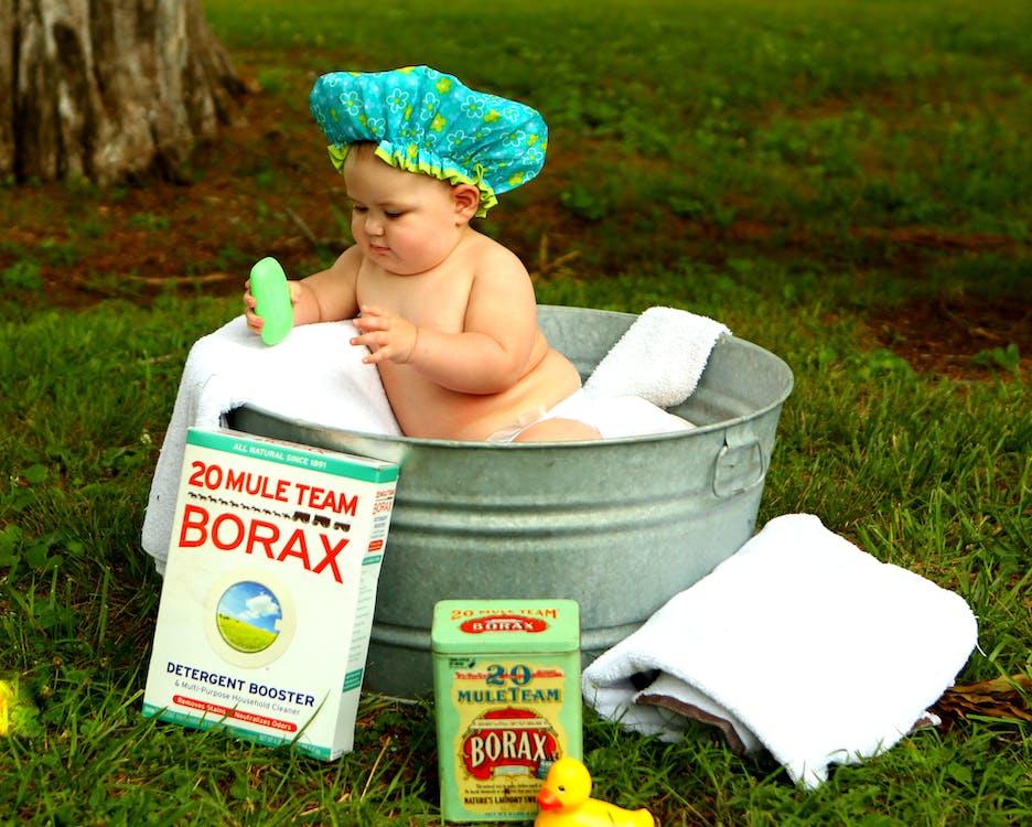 Shirtless Baby Boy in Galvanized Tub