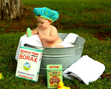 Shirtless Baby Boy in Galvanized Tub