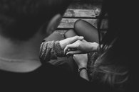 black-and-white, couple, hands