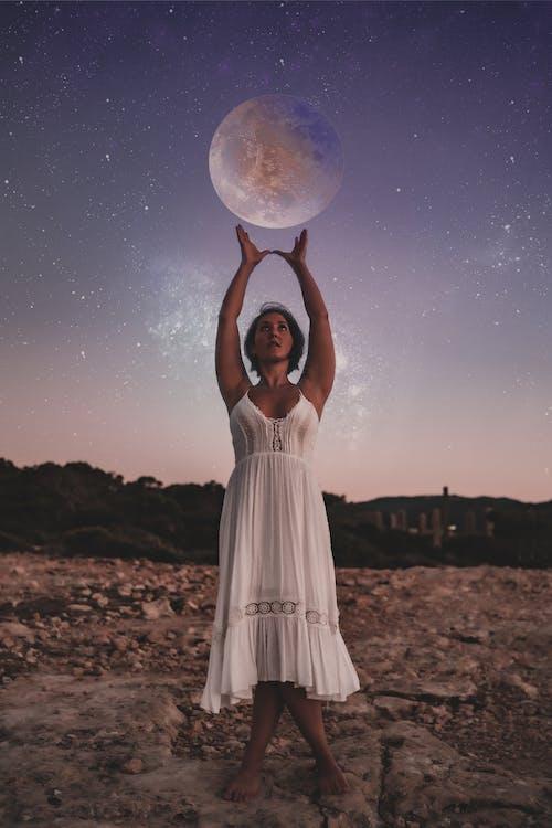 Free stock photo of astrology sun moon stars woman goddess lady galaxy