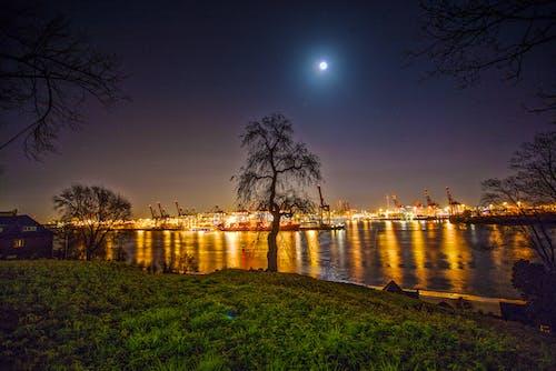 คลังภาพถ่ายฟรี ของ กลางคืน, การสะท้อน, จันทรา, ตอนเย็น