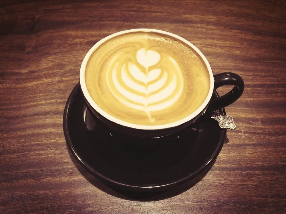 cappuccino, drewno, drink