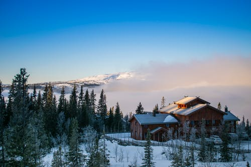 Free stock photo of blue sky, cabin, clear sky, fog