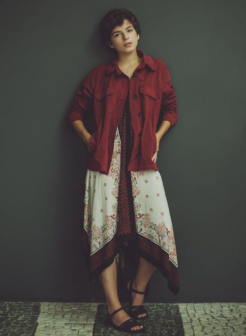 Woman In Red Denim Jacket
