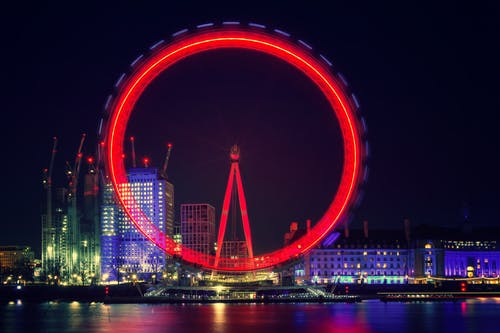 Ferris Wheel With Red Light Beside Body of Water