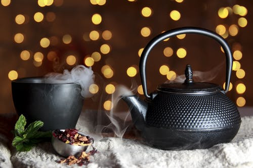 Close-up of Black Teapot