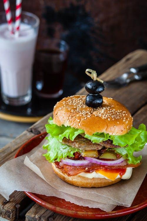 burger, ebéd, élelmiszer