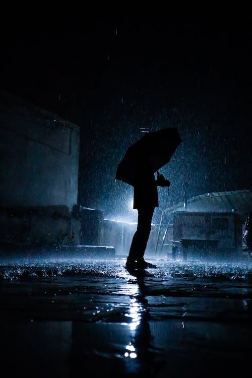 Free stock photo of boy with umbrella, indian boy, rain, silhouette
