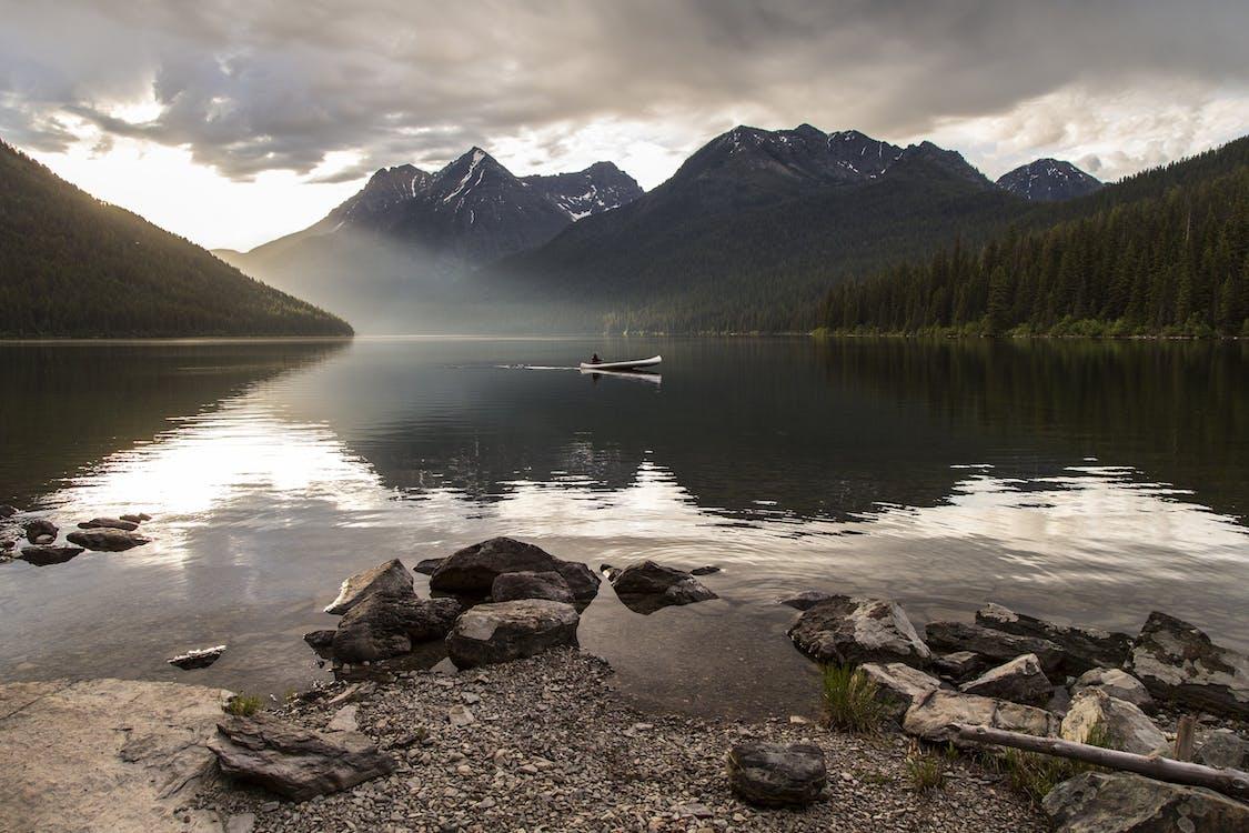 alpin, båd, bjerg
