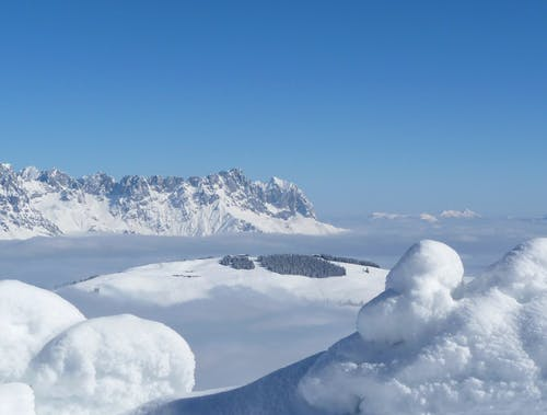Scenic View of Snow Mountains Against Blue Sky