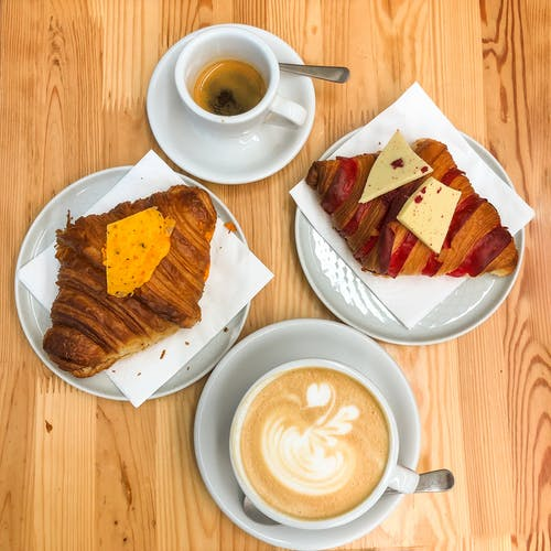 Free stock photo of breakfast, croissant, eating out, fresh coffee