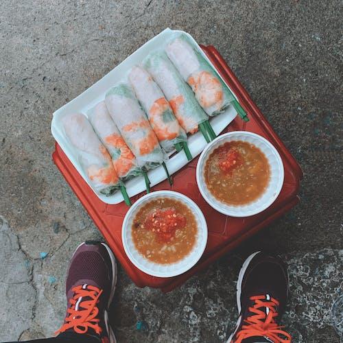アジア料理, ベトナム料理, 屋台の食べ物, 新鮮な春巻きの無料の写真素材
