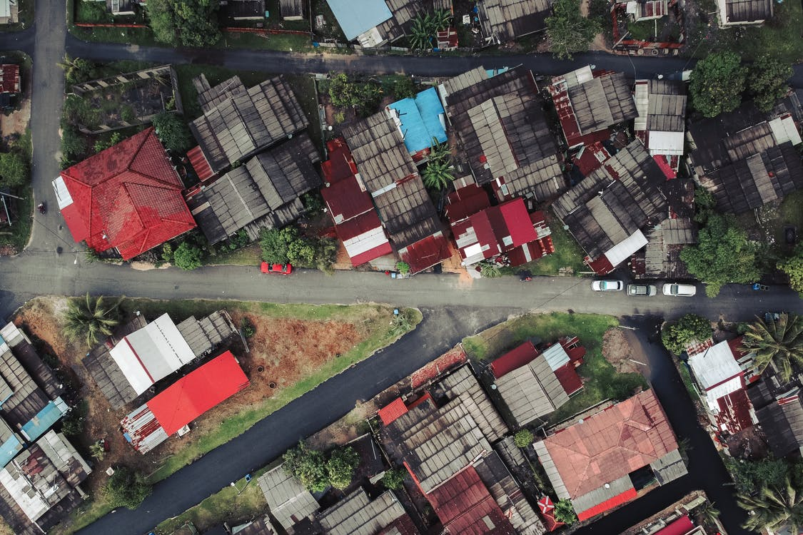 Bird's-eye View Photo of Houses and Empty Streets