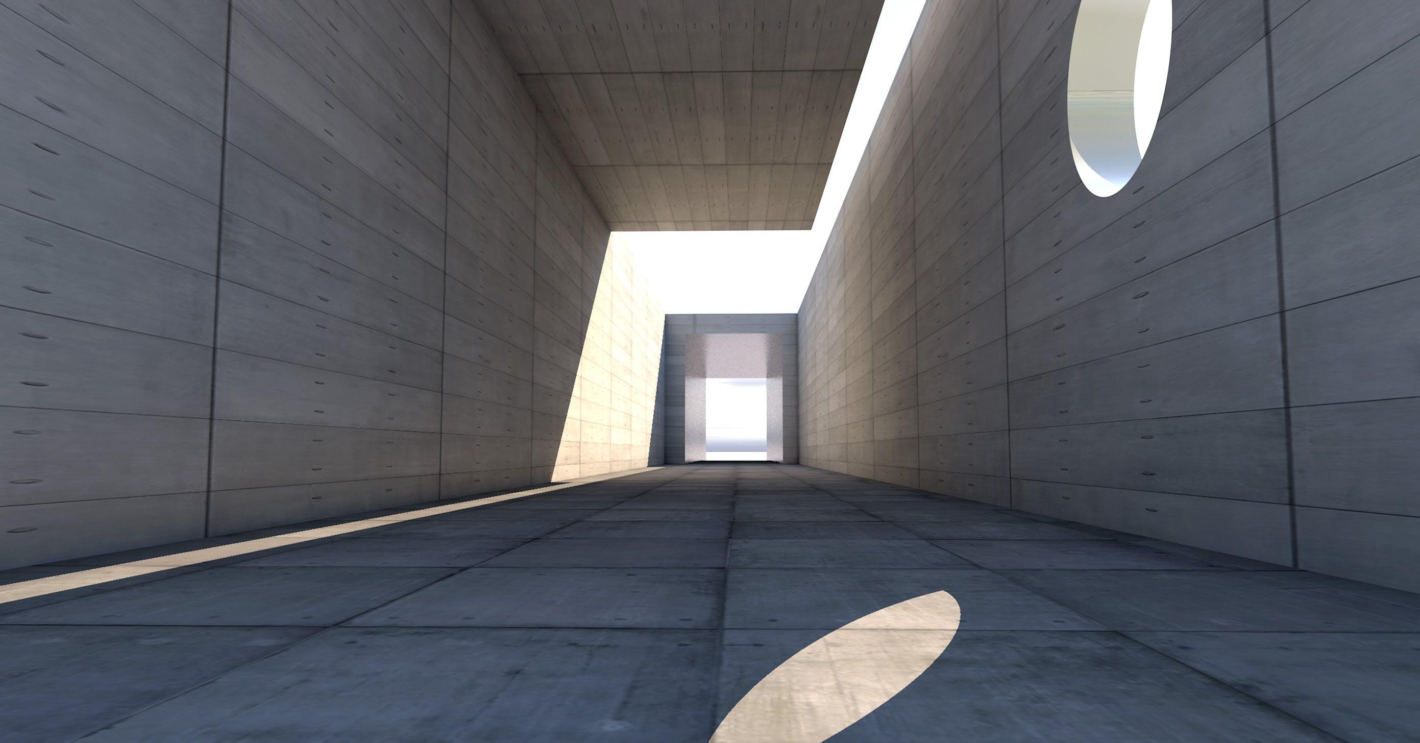 architektura, beton, budova