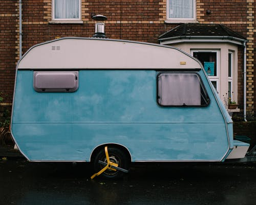 Teal and White Rv Trailer