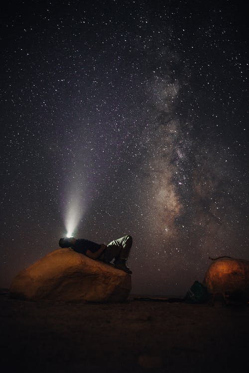 Man Lying on Stone Gazing The Milkyway