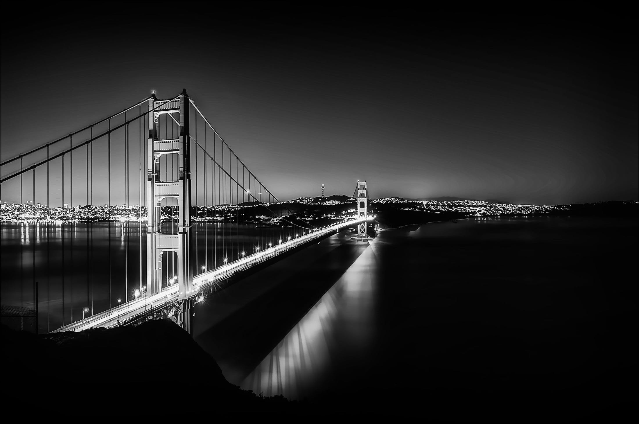 Free stock photo of black-and-white, city, lights, bay
