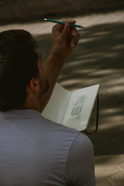 Ingyenes stockfotó ábra, ceruza, Férfi, jegyzetfüzet témában
