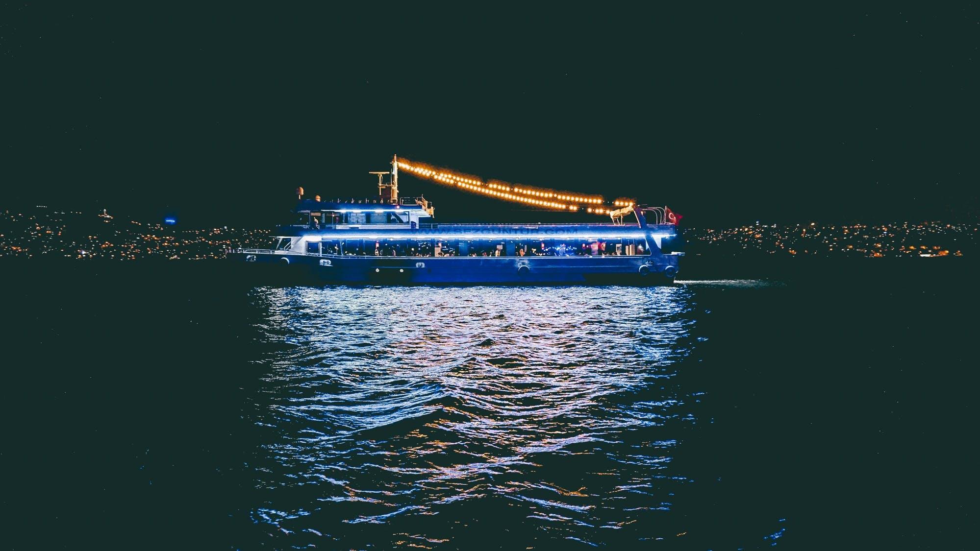 Free stock photo of city, night, boat, ship