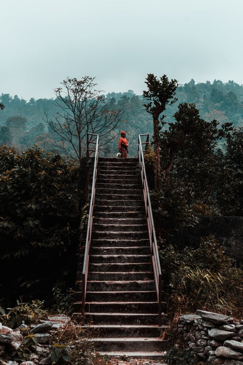 Free stock photo of beatiful landscape, Foggy landscape, metal stairs, mobile wallpaper