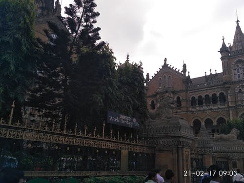 Free stock photo of Mumbai cst, UNESCO board outside railway headquart