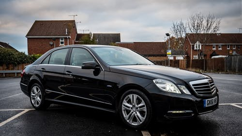 Free stock photo of black car, cloudy, e-class, E220