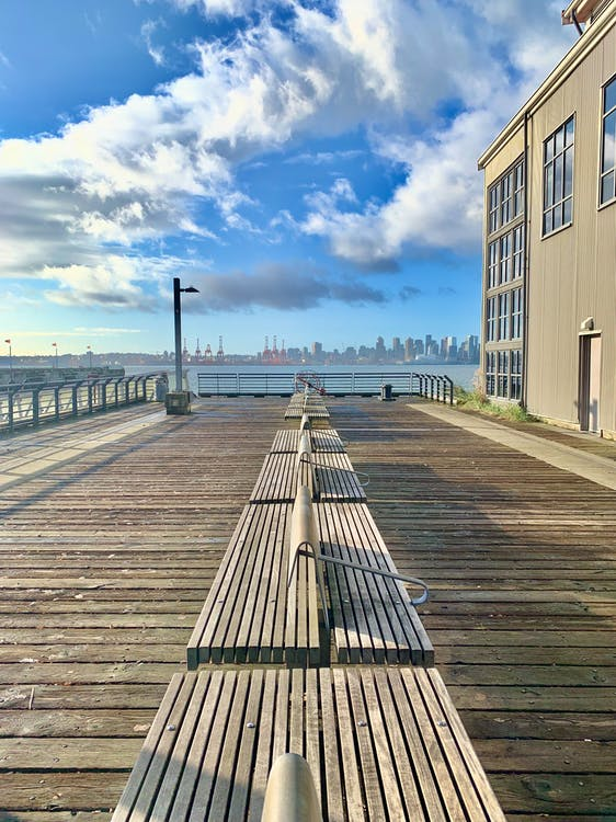 benches, city skyline, dock