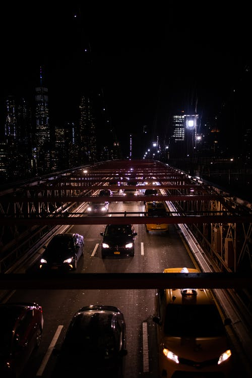 Free stock photo of brooklyn bridge, cars, city night, new york