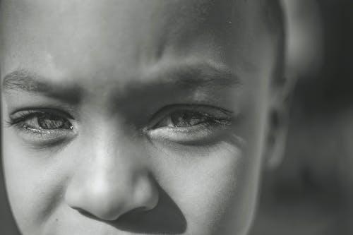 bebek, büyük gözler, bw fotoğrafçılık, ciddi içeren Ücretsiz stok fotoğraf