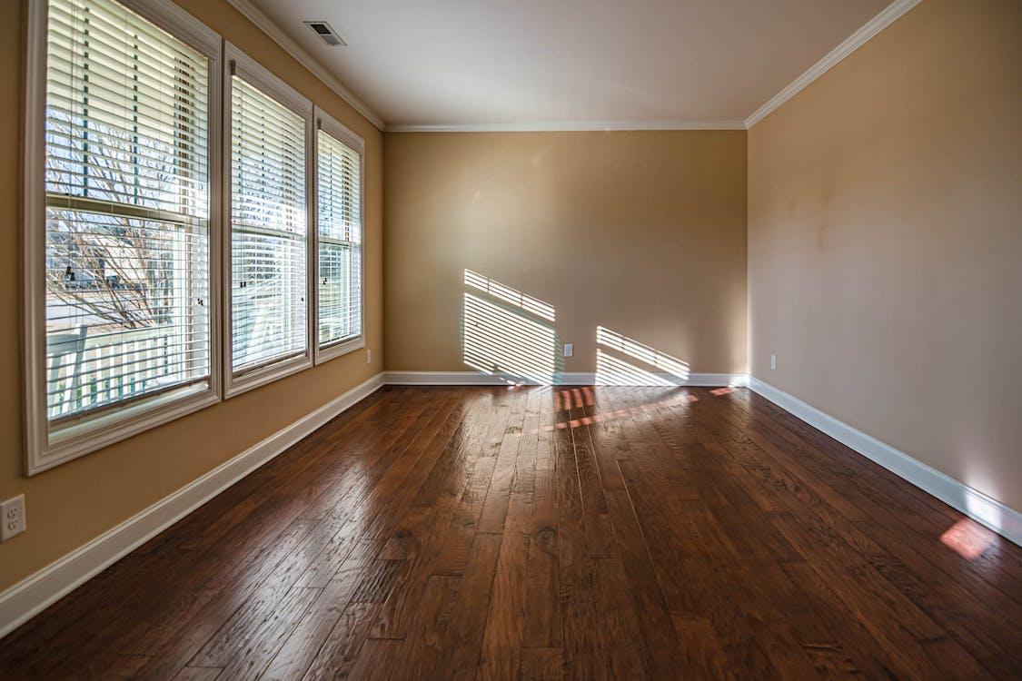Brown Wooden Parquet Tiled Empty Room