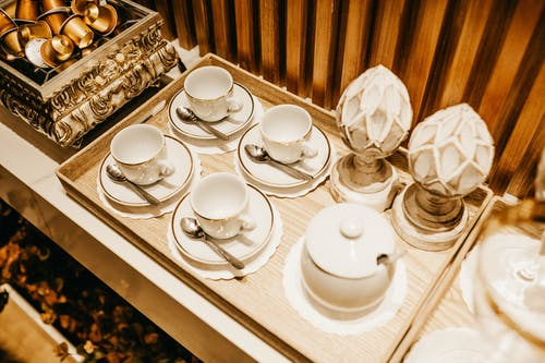 White Ceramic Tea Set on Table