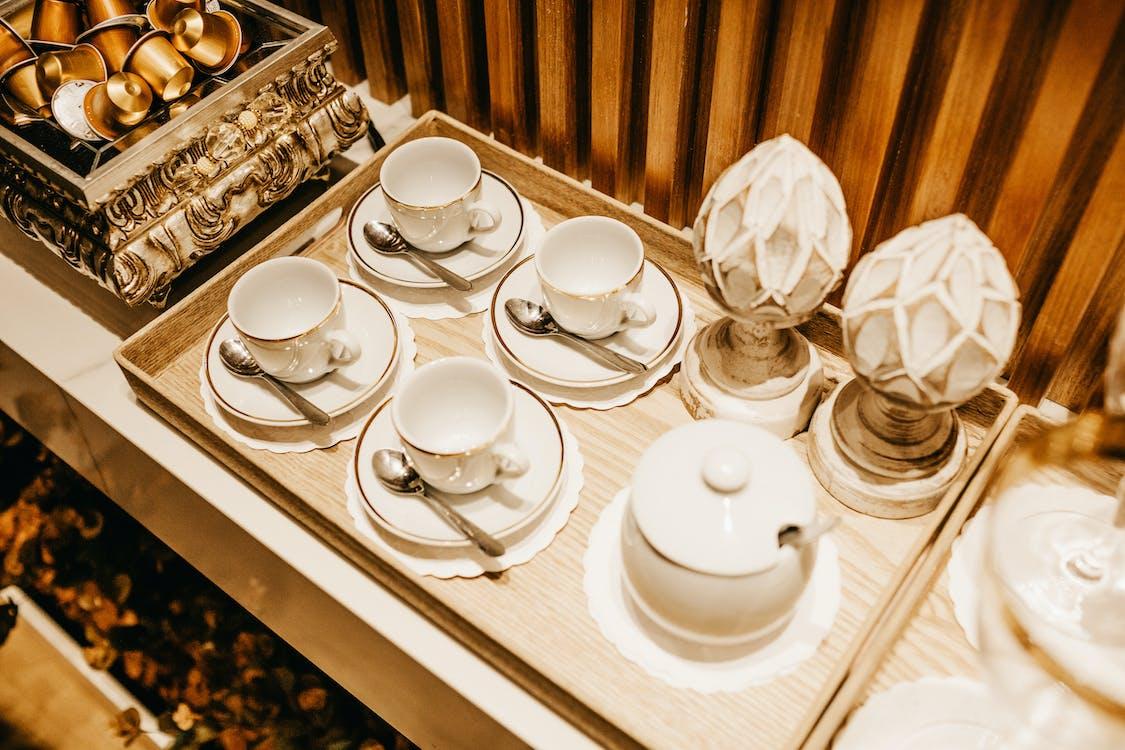 White Ceramic Tea Set on Table
