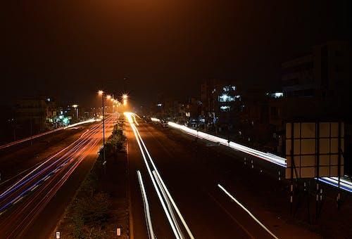 Základová fotografie zdarma na téma auto trasy, dálnice, noc, světelné stopy