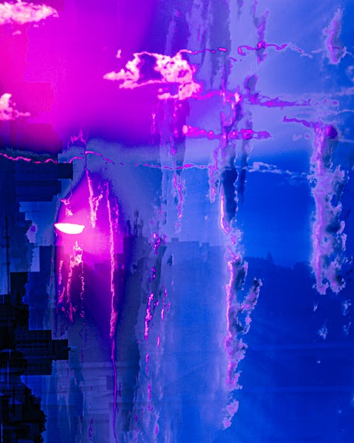 Blue and Purple Abstract Paiting