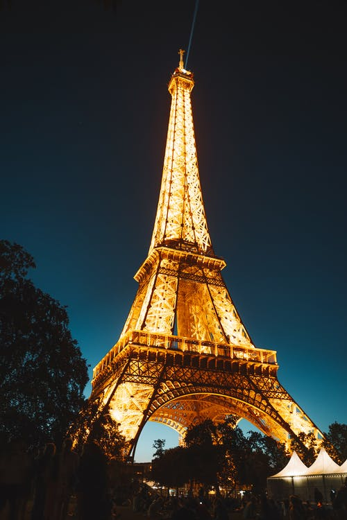 Lighted Eiffel Tower in Paris