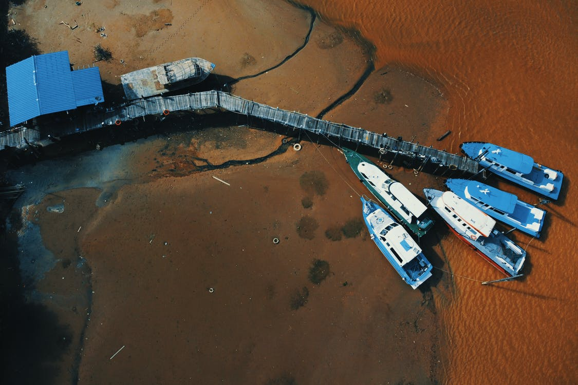Aerial Photography of Boats in a Dock