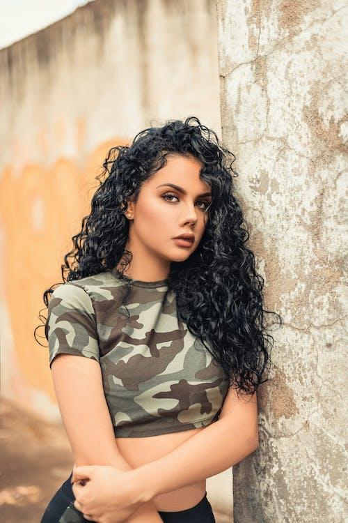Woman Wearing Camouflage Crop Top
