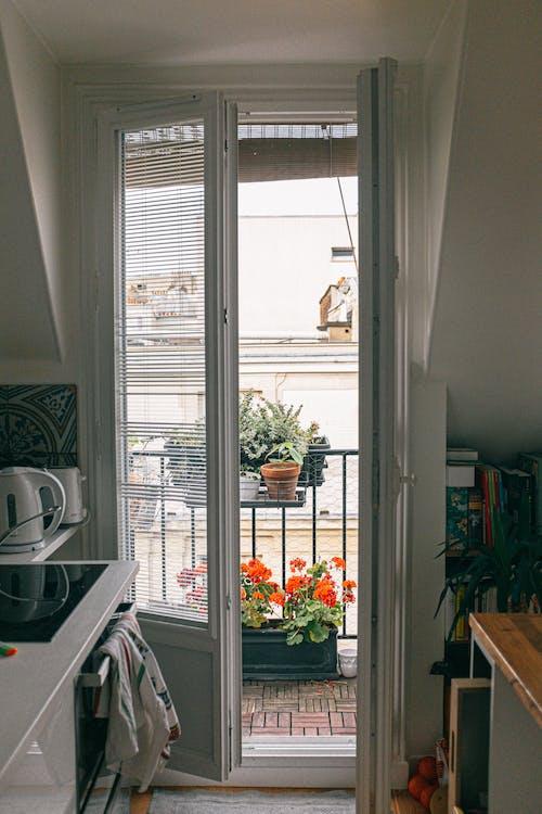 Open Door Showing Orange Petaled Flowers