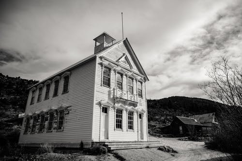 Monochrome Photo Of House During Daytime