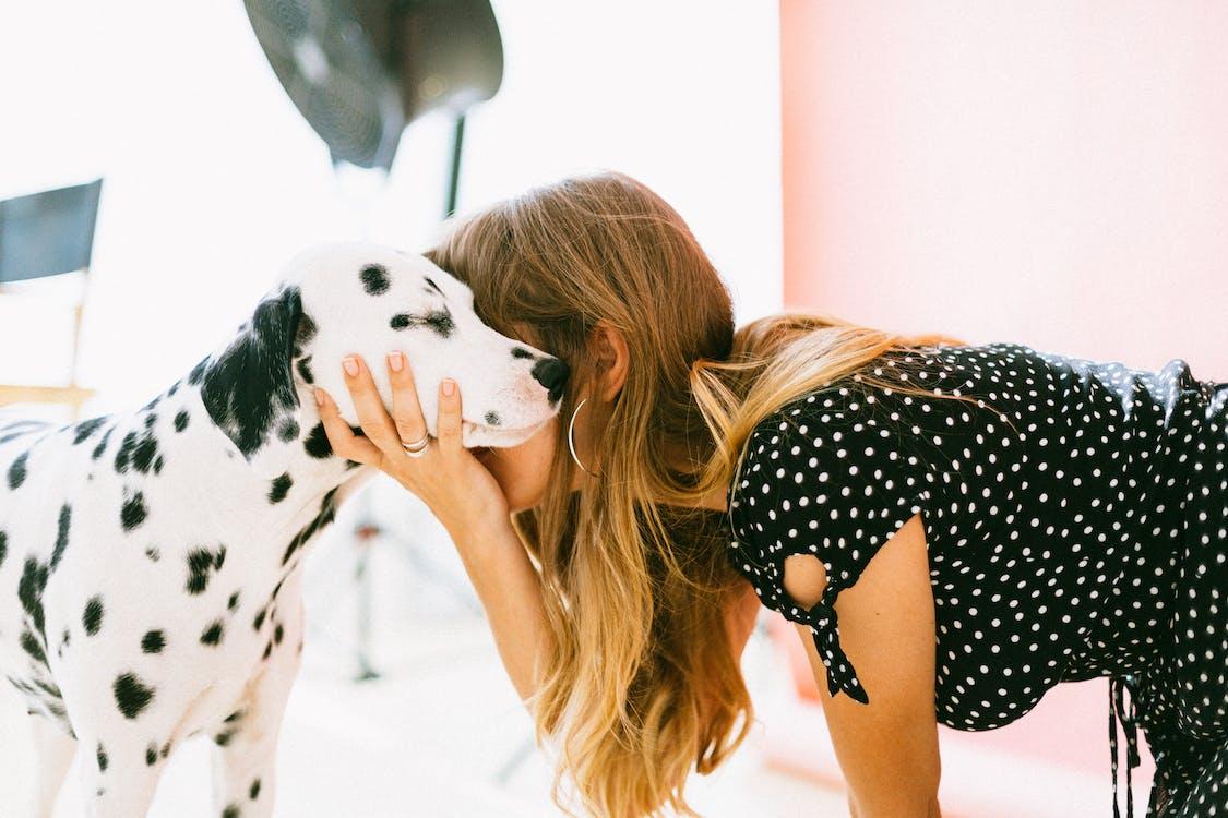 Photo Of Woman Holding Dalmatian