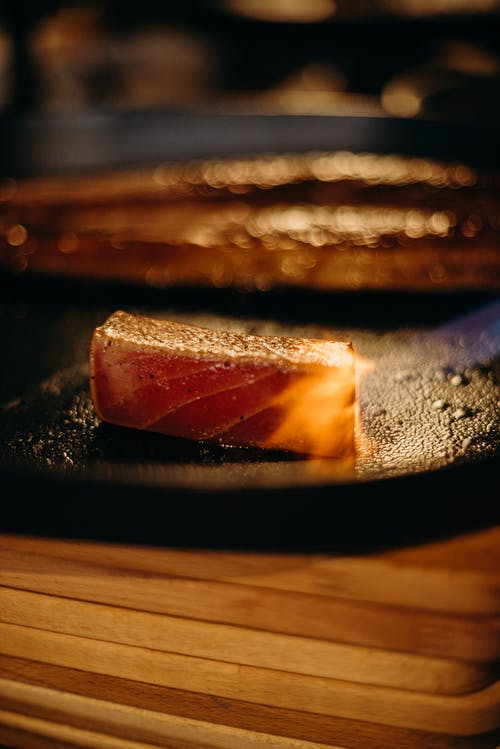 Close-Up Photo Of Sliced Tuna