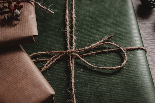 Green Box Tied With Brown String