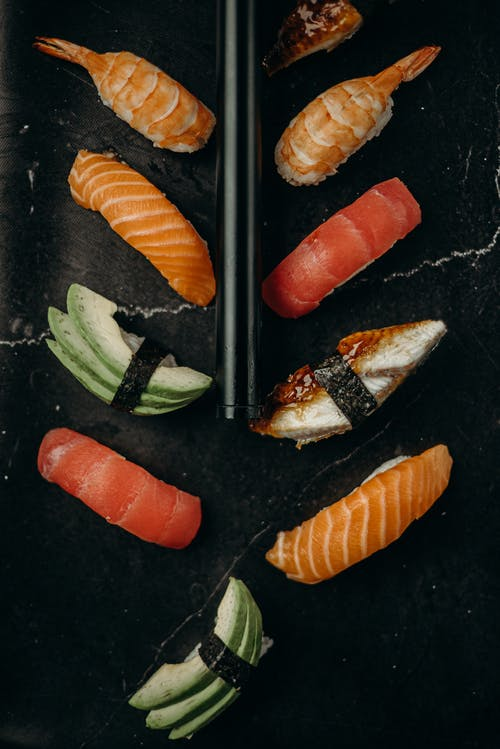 Sushi on Black Surface