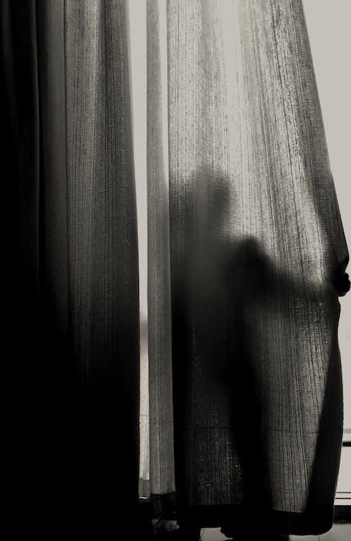 Foto profissional grátis de cortina, escuro, P&B, silhueta